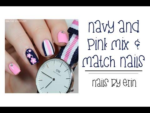 Navy And Pink Mix & Match Nails   NailsByErin