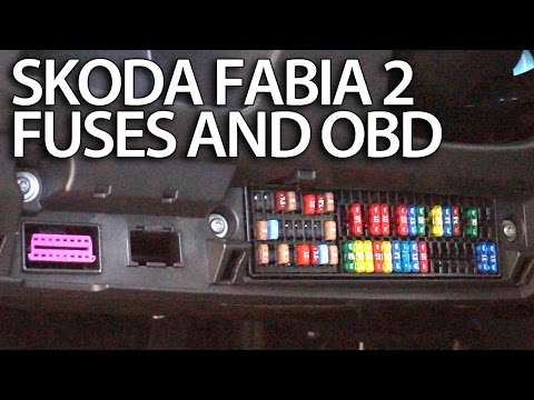 where are fuses and obd port in skoda fabia 2 (engine and cabin fuse box,  diagnostics) - youtube