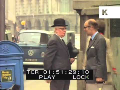 1960s Man in Bowler Hat, London Archive Footage