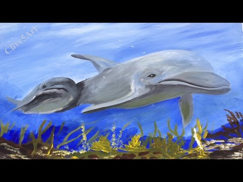 Dolphins, Acrylic painting for beginners,#waveforchange, #clive5art #art