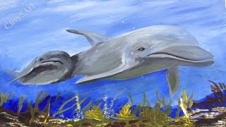 Dolphins, for World Oceans day, Acrylic painting for beginners,#waveforchange, #clive5art