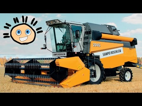 ⛟ Спецтехника для детей. Комбайн собирает пшеницу. Познавательный мультик