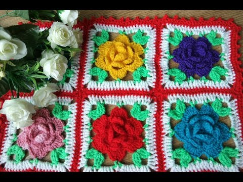How to crochet colorful blanket afghan with roses free pattern tutorial by marifu6a