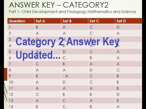 KTET EXAM Answer Key 2018 || 20Oct2018||Category 2 Updated