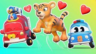 Малыши Машинки -  МАЛЫШИ спасают ТИГРЁНКА! - Обучающие мультфильмы Автомобильного Города