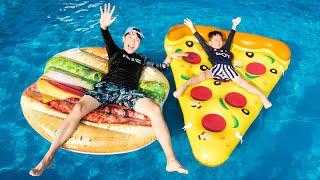 마슈의 수영장 마트놀이! 햄버거 피자 거대 튜브! Mashu Swimming Pool Play & Food Toys Pool Party - 마슈토이 Mashu ToysReview