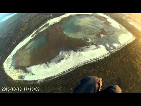 Полёт на мотопараплане вблизи п. Фосфоритный. Пруд Берёзовка и Эфеля