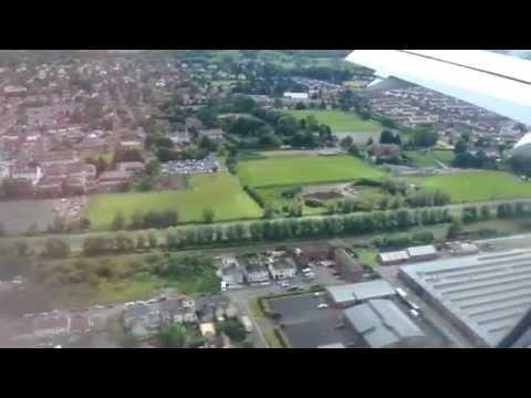 Airbus 320 landing at Belfast CIty Airport