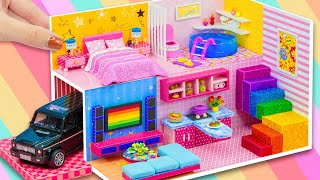 ❤️ DIY Miniature Cardboard House #76 with Car Garage, Modern Living Room, Pink Bedroom and More ❤️
