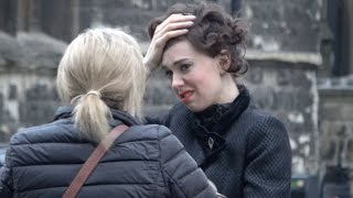 Vanessa Kirby suffers 'helmet hair' after filming 'The Crown' on location in London