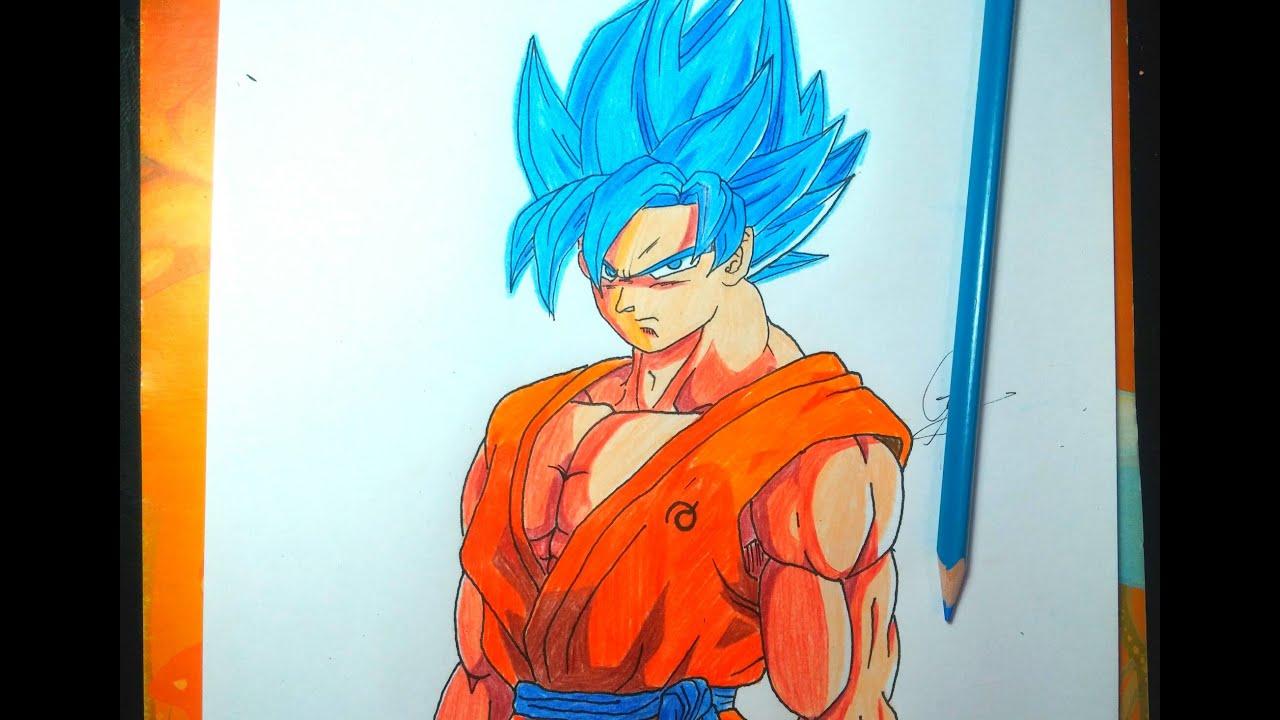 DIBUJANDO A GOKU SSJ DIOS BLUE  Drawing Goku Fukkatzu No F 2015