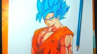 DIBUJANDO A GOKU SSJ DIOS AZUL -  Drawing Goku Fukkatzu No F 2015