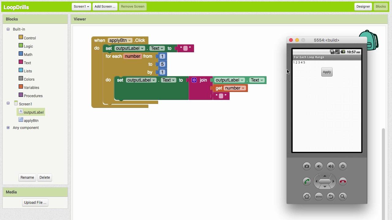 for each number Loop in App Inventor 2