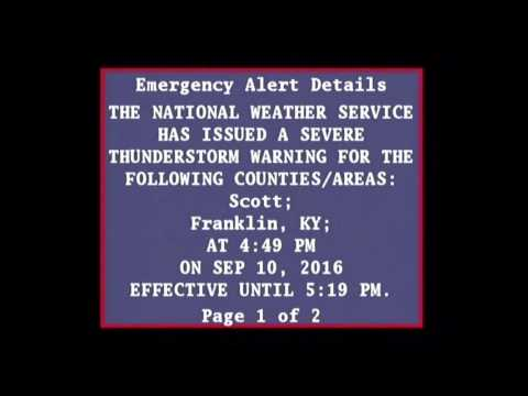EAS - Severe Thunderstorm Warning issued - 4:50pm 9/10/2016