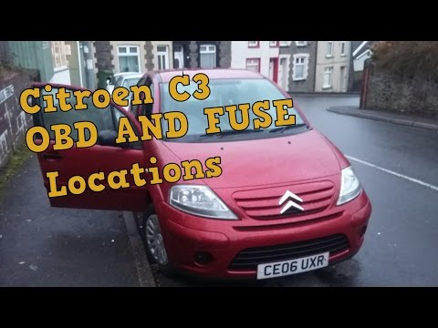 Citroen C3 OBD and Fuse Locations
