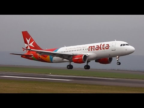 Air Malta Airbus A320 9H-AEQ Landing & Takeoff at Bristol Airport (BRS-EGGD) with ATC