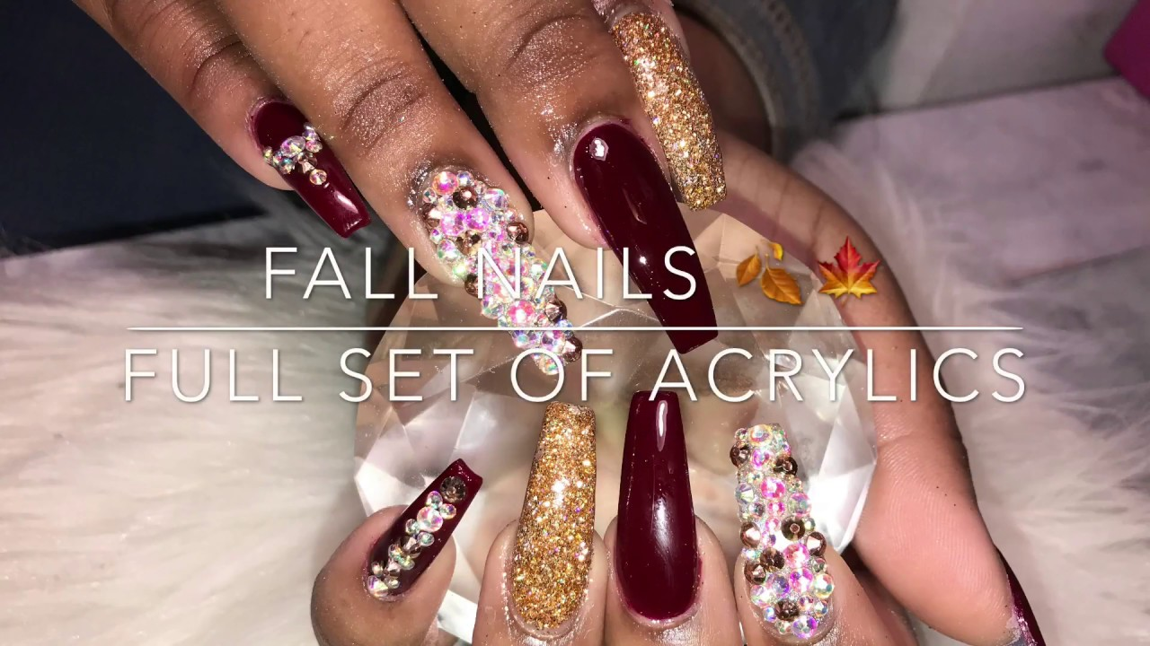 Acrylic Coffin Nails Tutorial | Fall Nails 🍁🍂 - YouTube