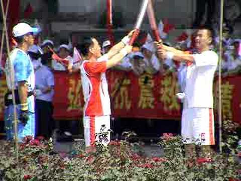 HongJiang Zhang's Olympic Torch run in LanZhou, CHN