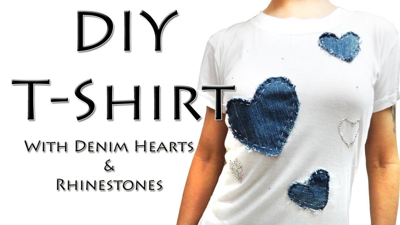 Diy Tshirt With Denim Hearts