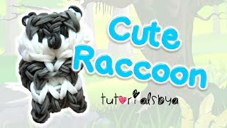 Cute Raccoon Charm / Mini Figurine Rainbow Loom Tutorial | How To