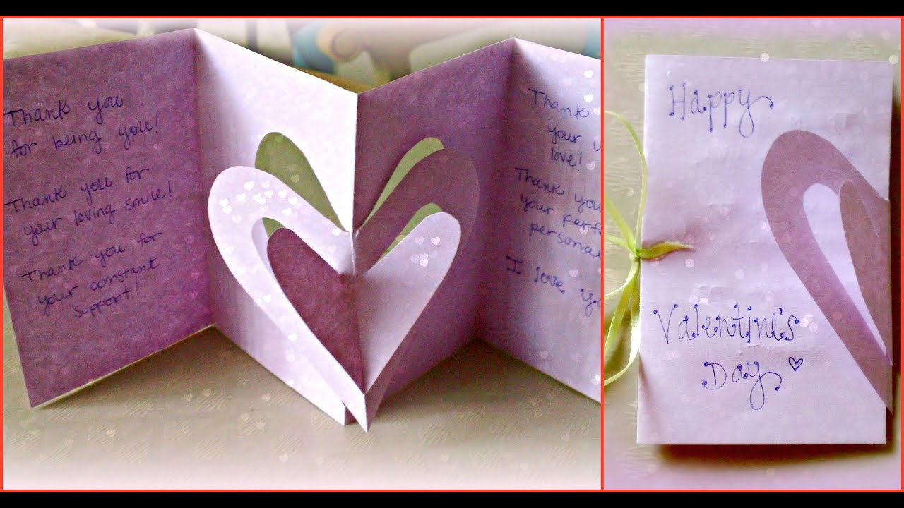 Holiday Crafts 3D Hearts Valentines Day Card YouTube – Create a Valentines Day Card