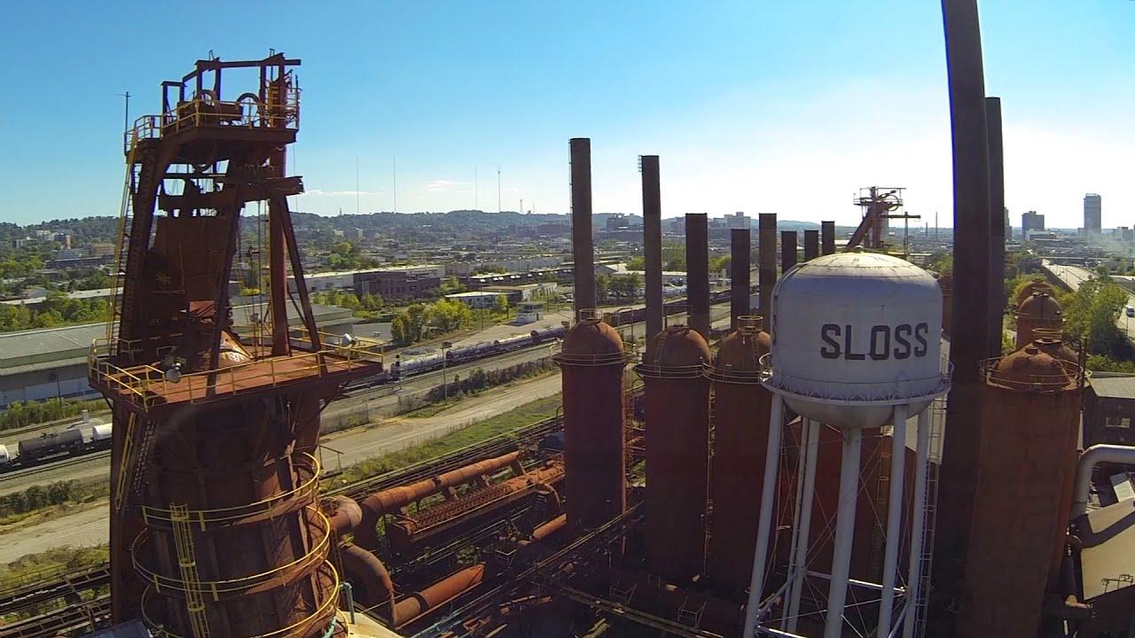 Flying Over Sloss Furnaces - YouTube