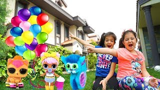 Öykü & Masal flying with surprise  balloons ,Toy Rain - funny kids