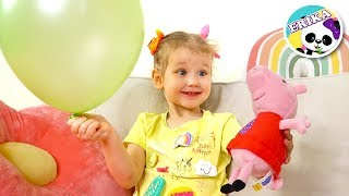Erika pretend play con globos de colores. Aprende ingles para niños for kids
