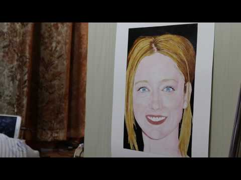 Painting of Judy Greer (work in process 9)