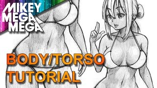 How To Draw FEMALE TORSO BODY IN ANIME MANGA
