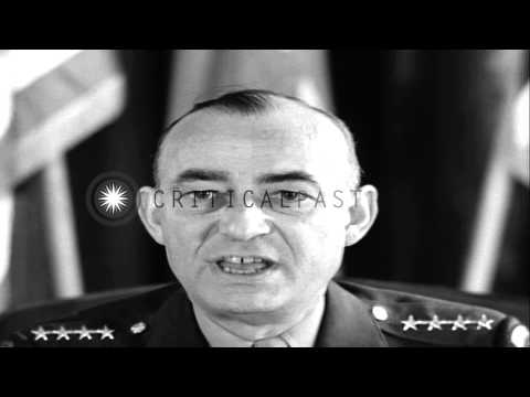 United States Army Air Force General Joseph T. McNarney speaks to the US Forces a...HD Stock Footage
