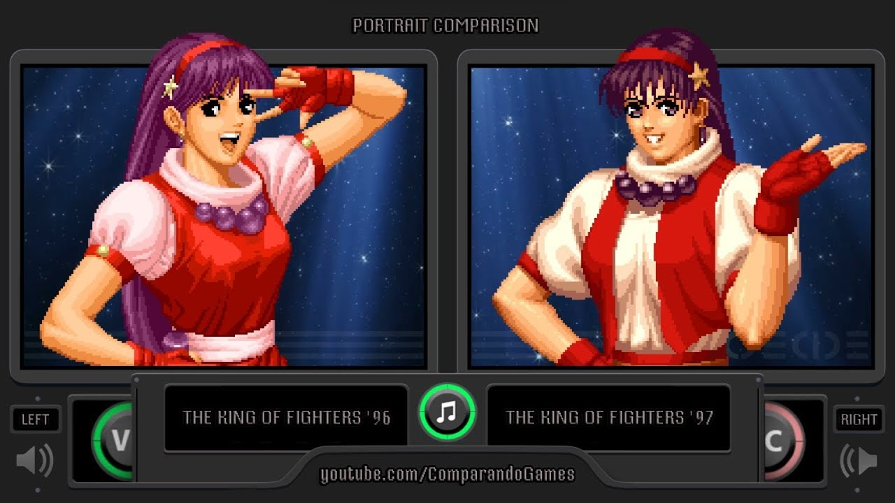 Portrait Comparison Of The King Of Fighters 96 Kof 96 Vs Kof 97