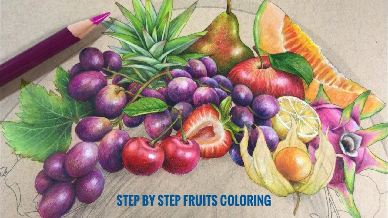 STEP BY STEP: FRUITS COLORING // Coloring Page by Chris Cheng
