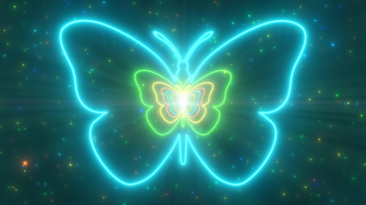 Download Beautiful Butterfly Neon Lights Tunnel Fast Abstract Glow Particles 4K TikTok Trend Background