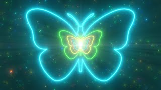 Beautiful Butterfly Neon Lights Tunnel Fast Abstract Glow Particles 4K TikTok Trend Background