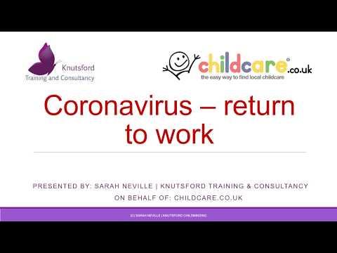 Coronavirus Return To Work For Childminders & Early Years Settings