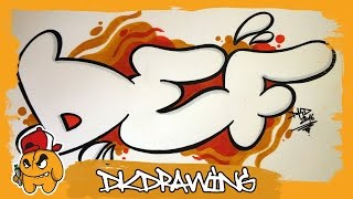 Graffiti Alphabet Tutorial - How to draw Graffiti Bubble Letters D to F