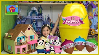 Very Big Lil Woodzeez Egg Surprise Toys Opening Animal Family Home & Airplane Ride Surprises