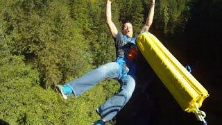Bungee Jump BROKEN CORD PRANK! GoPro held in hand and bridge view!