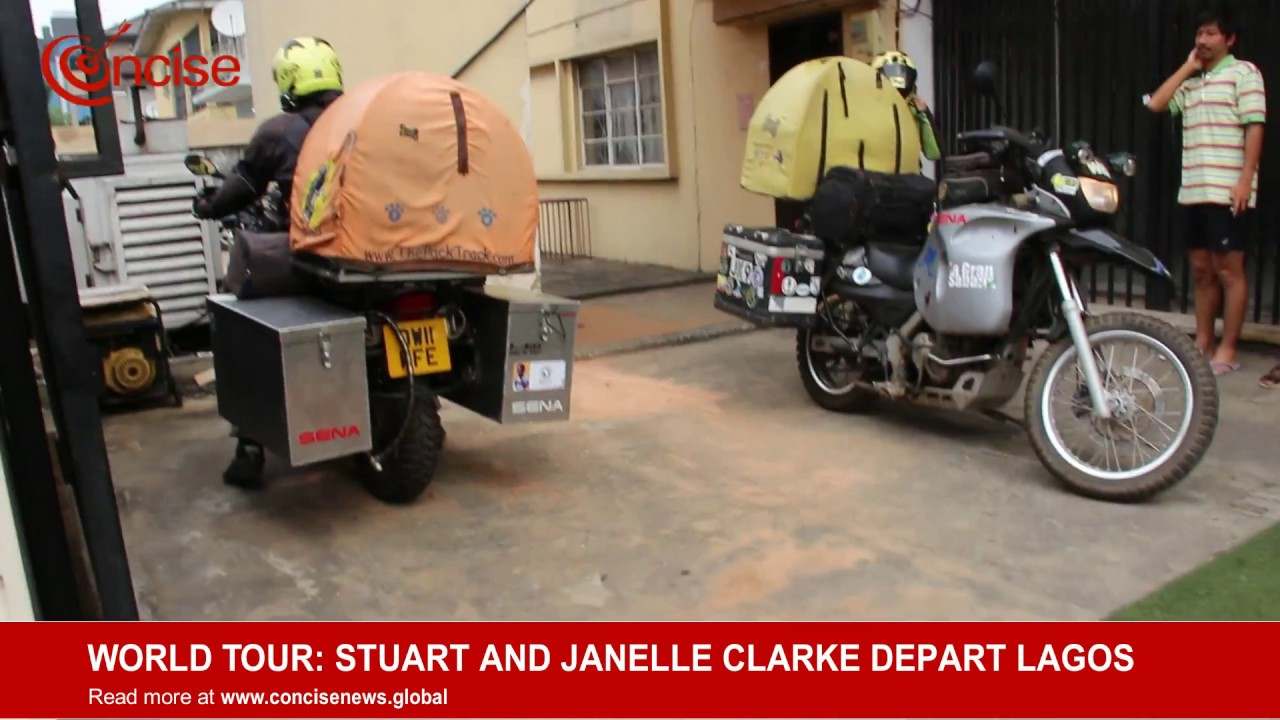 World Tourists Stuart And Janelle Clarke Depart Lagos, Nigeria