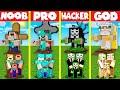 Minecraft Battle: GRAVE STATUE BASE HOUSE BUILD CHALLENGE - NOOB vs PRO vs HACKER vs GOD / Animation