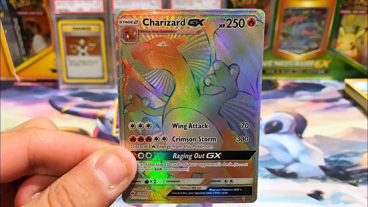 RAINBOW RARE CHARIZARD GX! Opening 5 Burning Shadows Booster Packs