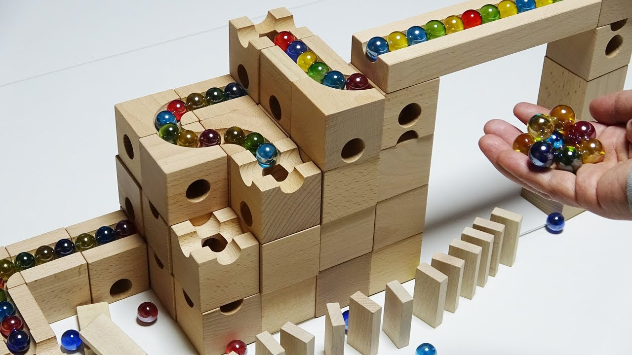 Download Marble Run Race ASMR ☆ Wooden EUREKA Deluxe 66 Made in Japan [Cuboro equivalent]