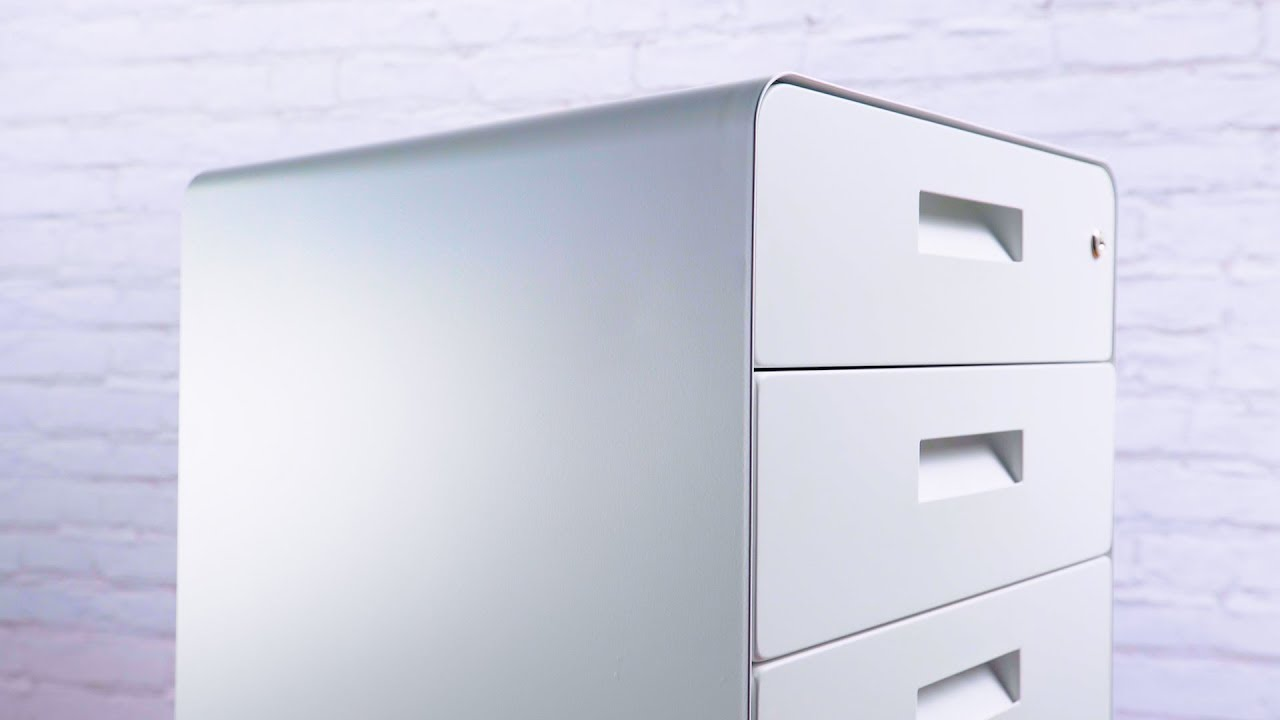 Locking Rolling 3 Drawer File Cabinet By Uplift Desk