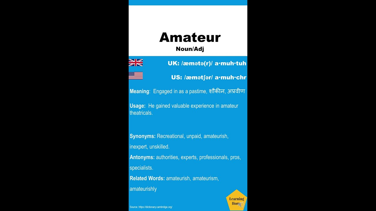 Amateur synonyms