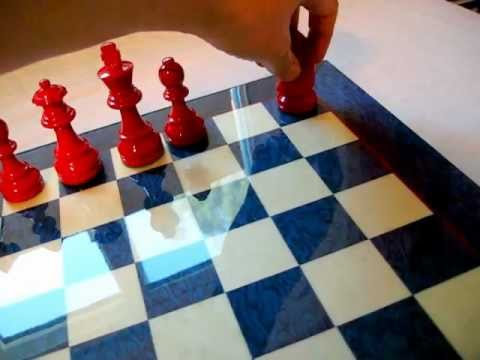 Blue And White Inlaid Wood Chessboard With Red Chessmen Nice Ancientchess