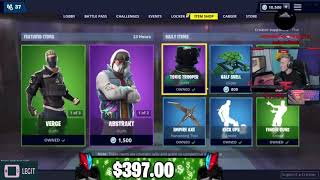 Tfues *FULL* Locker with a Money Counter Everytime he Buys a Fortnite Skin!