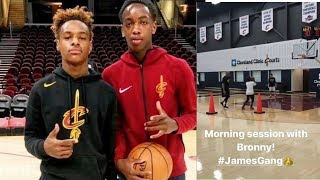 LeBron James Jr. & LeBron WORKING OUT Together At Cavaliers Practice