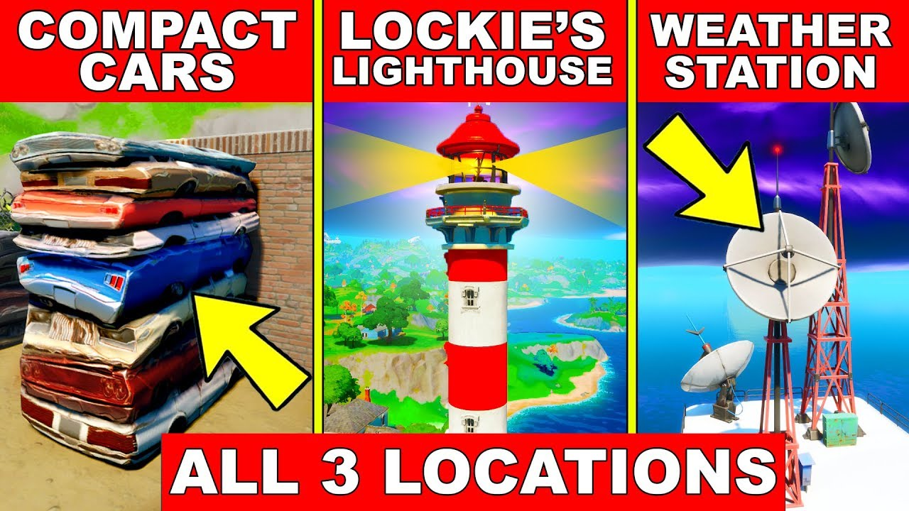 Dance At Compact Cars Lockies Lighthouse And A Weather Station All 3 Locations Fortnite Guide