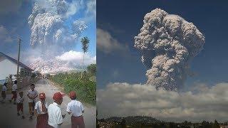 Anak-anak SD Nangis Histeris, Lari Ketakutan Keluar Kelas Lihat Dahsyatnya Letusan Gunung Sinabung